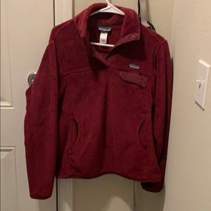 Women's Patagonia pullover is dark red